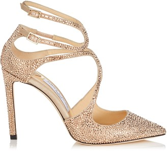 Jimmy Choo LANCER 100 Rose Gold Satin Pointy Toe Pumps with Crystal Hotfix