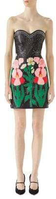 Gucci Strapless Embroidered Leather Mini Dress