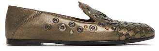 Bottega Veneta Intrecciato Metallic Leather Loafers - Womens - Gold