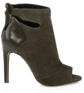Alexandre Birman Tory Suede & Leather Open Toe Booties