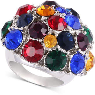 GUESS Silver-Tone Multicolor Crystal Statement Ring
