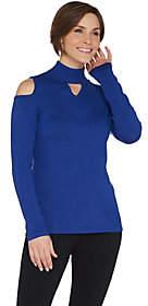 Susan Graver Rayon Nylon Cold Shoulder MockNeck Sweater