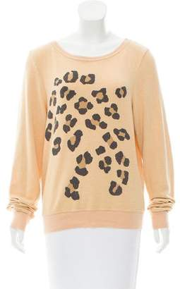 Wildfox Couture Leopard Print Knit Sweatshirt