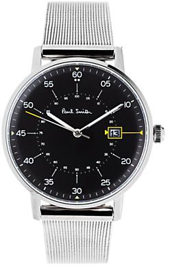 P10131 Men's Gauge Date Bracelet Strap Watch, Silver/Black