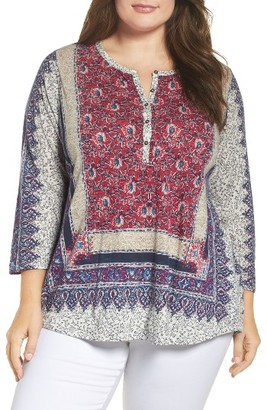 Plus Size Women's Lucky Brand Scarf Print Blouse $59.50 thestylecure.com