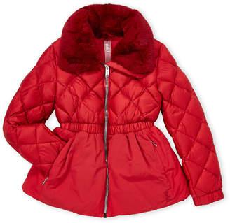 ADD Girls 7-16) Red Real Fur Collar Down Coat