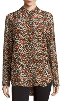 Equipment Leopard-Print Silk Top