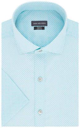 Van Heusen Mens Spread Collar Short Sleeve Wrinkle Free Stretch Dress Shirt - Slim