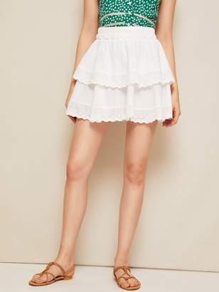 Shein Eyelet Embroidery Tiered Hem Skirt
