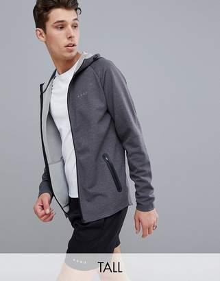 Asos 4505 Tall zip up hoodie in gray marl