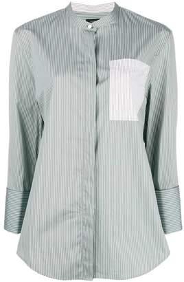 Joseph pinstripe mandarin collar shirt
