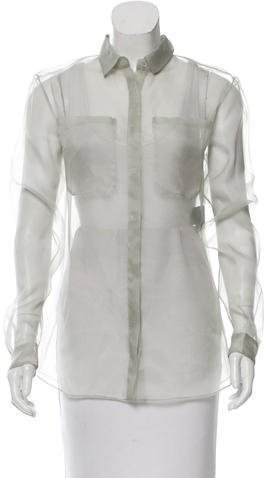 Burberry Prorsum Drape-Accented Silk Blouse w/ Tags