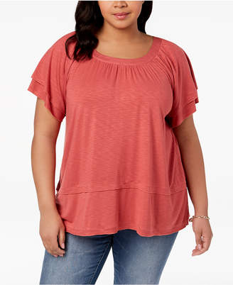 Style&Co. Style & Co Plus Size Flutter-Sleeve Swing-Hem Top, Created for Macy's