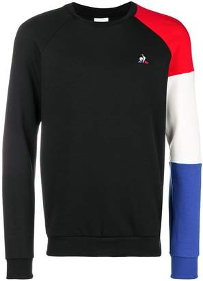 Le Coq Sportif logo colour-block sweater