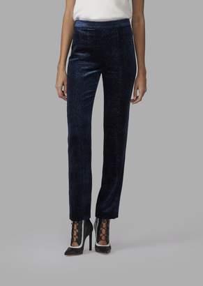 Giorgio Armani Glittery Pincushion-Effect Velvet Straight-Leg Trousers