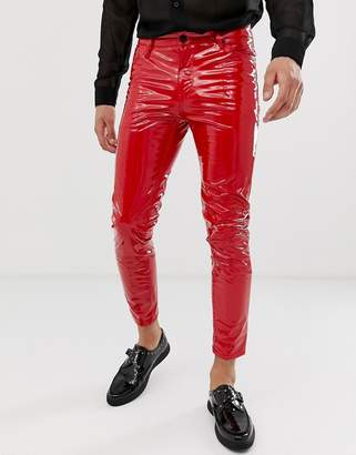 Asos Design DESIGN cropped skinny coated leather look jeans in red
