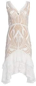 Jonathan Simkhai Women's Guipure Appliqué Eyelet Lace Flounce Dress - White - Size 2