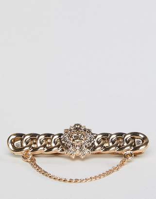 Asos Edition EDITION tie bar with lion head design and chain in burnished gold