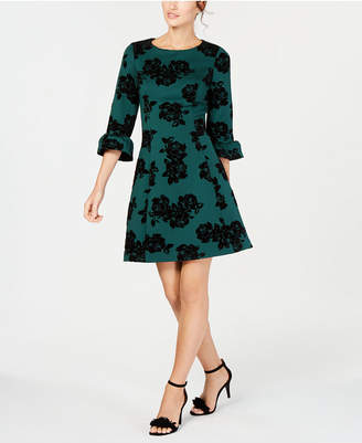 Jessica Howard Petite Flocked Fit & Flare Dress