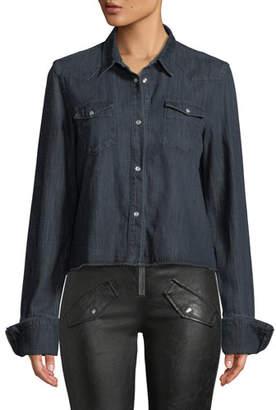 RtA Ashley Snap-Front Long-Sleeve Dark-Wash Denim Shirt
