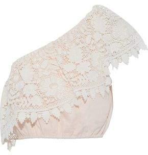 Miguelina Doris One-Shoulder Guipure Lace-Paneled Linen-Gauze Top