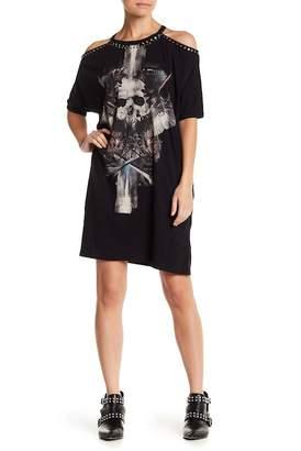 Religion Cold Shoulder Embellished Trim Graphic Print Dress