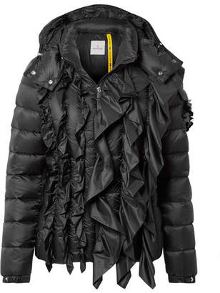 Simone Rocha Moncler Genius + 4 Bady Embellished Ruffled Quilted Shell Down Jacket - Black