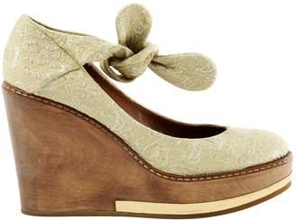Chloé Gold Cloth Heels