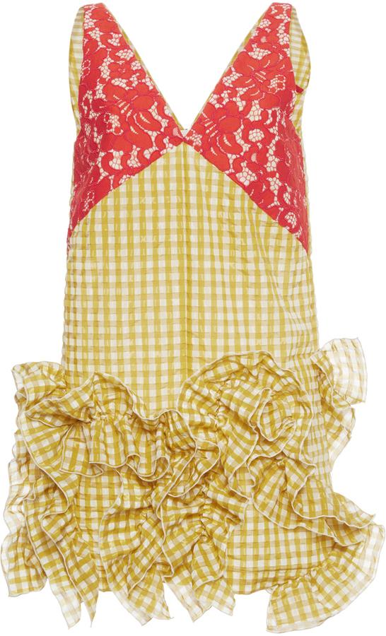 MSGM Yellow Gingham Sleeveless Dress
