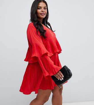 AX Paris Plus pleated tiered dress