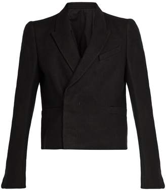 Rick Owens Cropped double-breasted camel hair-blend blazer