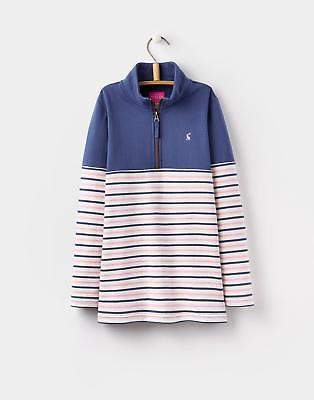 Joules 124414 Girls Fairdale Half Zip Classic Sweatshirt in Multi Stripe