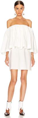 Marques Almeida Marques ' Almeida Off Shoulder 2 Layer Pleated Mini Short Dress in White | FWRD