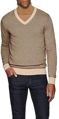 Brioni Men's Wool-Blend Herringbone V-Neck Sweater