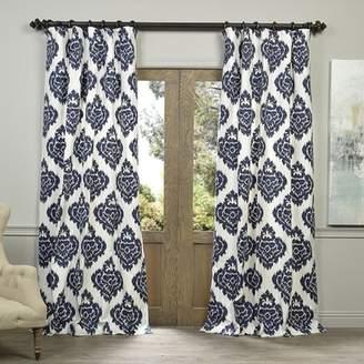 Bungalow Rose Atkins Ikat Room Darkening Tab Top Single Curtain Panel