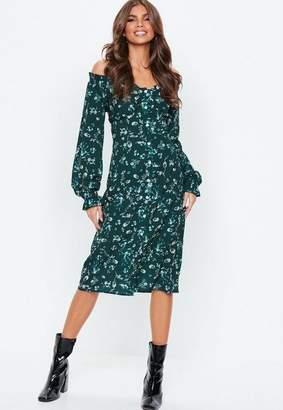 Missguided Green Button Through Floral Midi Dress