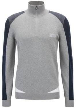 BOSS Hugo Color-block sweater in a water-repellent cotton L Light Grey
