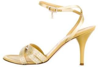 Chanel Embellished Satin Sandals