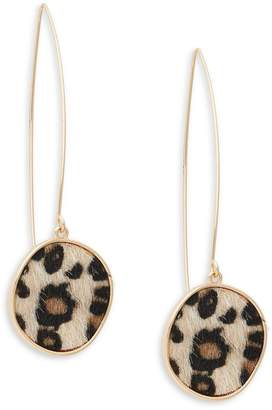 Ava & Aiden Leopard-Print Faux Fur Shepherd's Hook Earrings