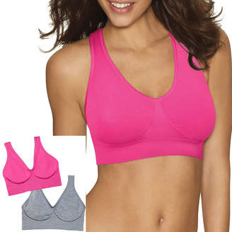 Hanes Get Cozy Comfortflex Fit Seamless 2-Pack Wireless Unlined Full Coverage Bra-Dhhb9f