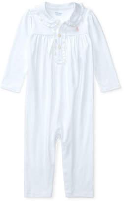 Ralph Lauren Ruffle-Trim Pima Jersey Coverall, Size 3-12 Months