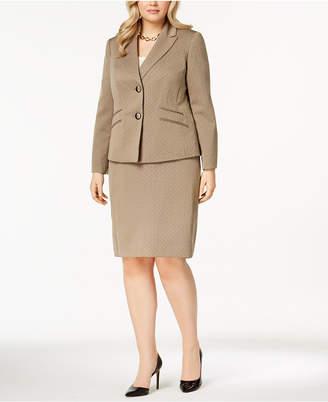 Le Suit Plus Size Melange Two-Button Skirt Suit
