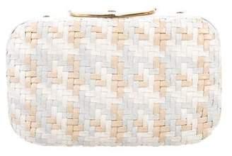 Judith Leiber Leather Basketweave Clutch