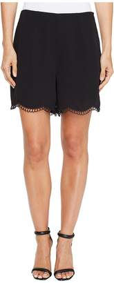 CeCe Soft Crepe Scallop Embroidery Shorts Women's Shorts