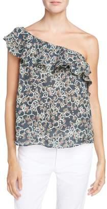 Etoile Isabel Marant Thom Ruffle Linen One-Shoulder Top