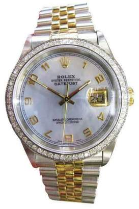 Rolex Oyster Perpetual Datejust Diamonds Yellow Gold Stainless Steel Blue Face Mens Watch