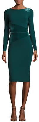 Chiara Boni Miska Long-Sleeve Sheath Cocktail Dress w/ Velvet Insert