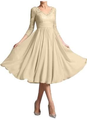 Sunvary Elegant Mother of The Bride Dresses V Neck 3/4 Sleeve Lace Tea-Length Size