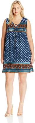 Blu Pepper Women's Plus Allover Border Printed Sleeveless Dress