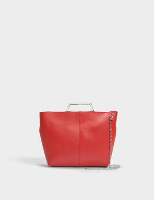 MM6 MAISON MARGIELA Hand Carry Crossbody Bag with Chain in Red Calf Leather with Foil